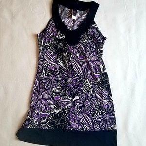 Multi-flower Black Purple Sleveless Stretch Dress